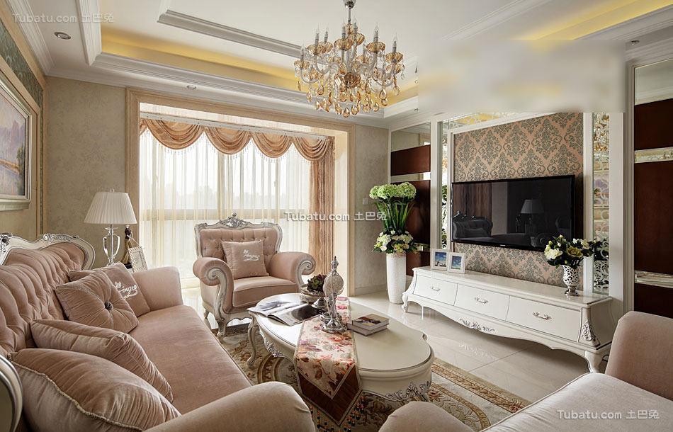 华丽简欧风格客厅设计