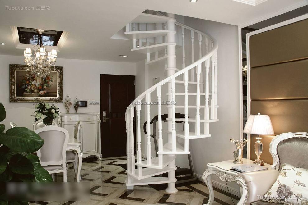 简欧风格旋转楼梯设计