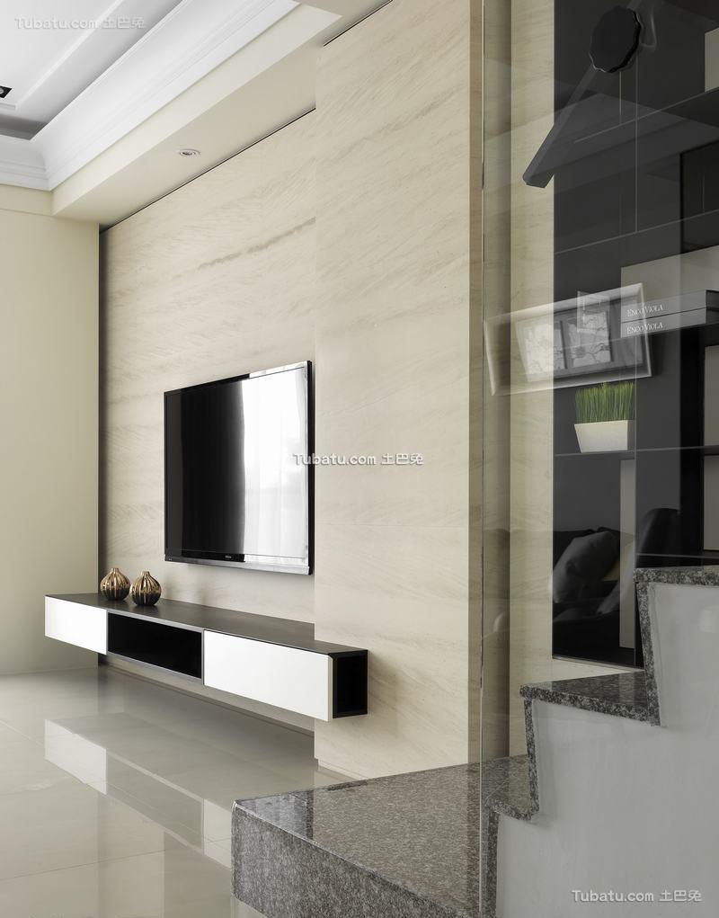 简约木制电视背景墙设计家装效果图片