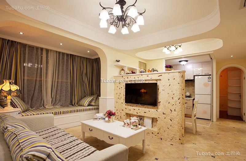 地中海风格电视背景墙设计效果图片