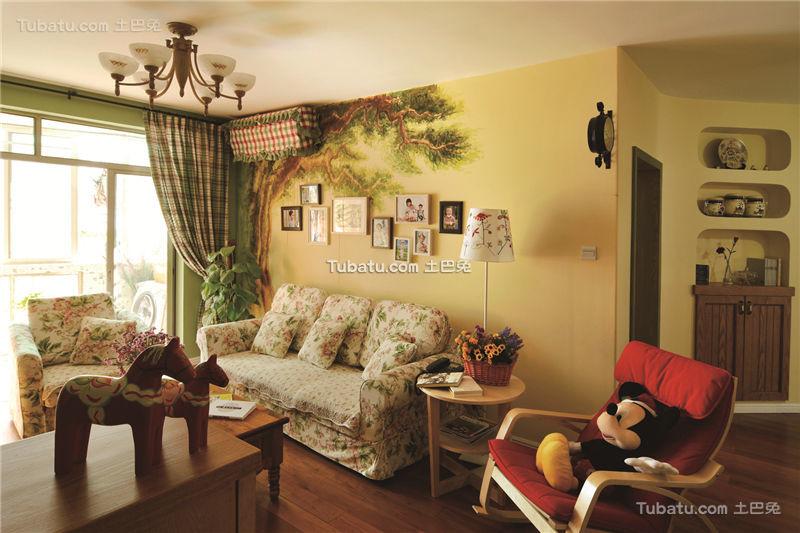 温馨田园风格二居装潢案例