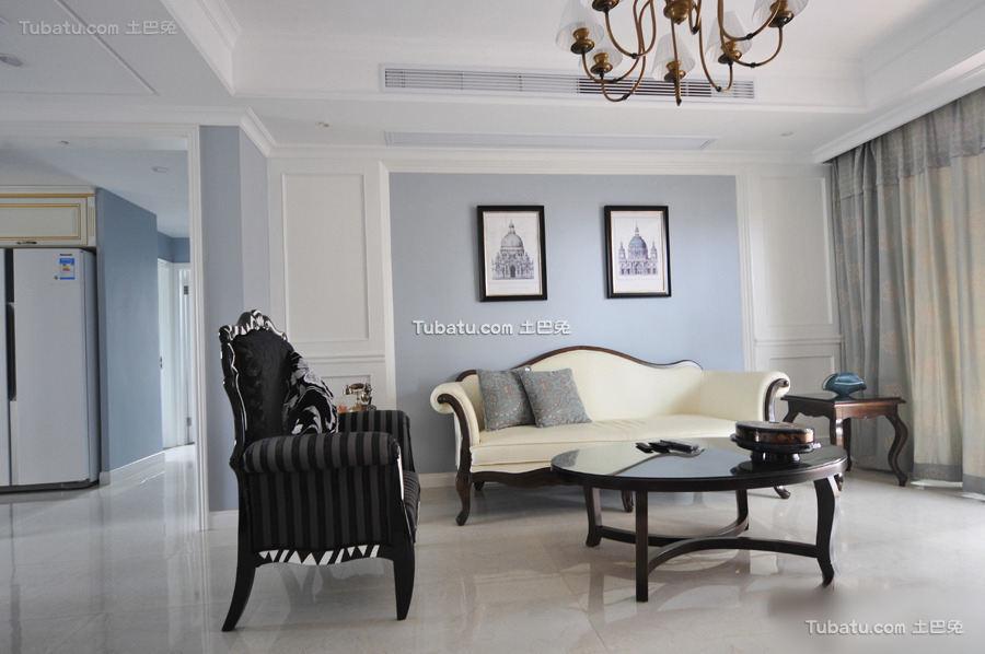 蓝色时尚复古美式二居设计案例