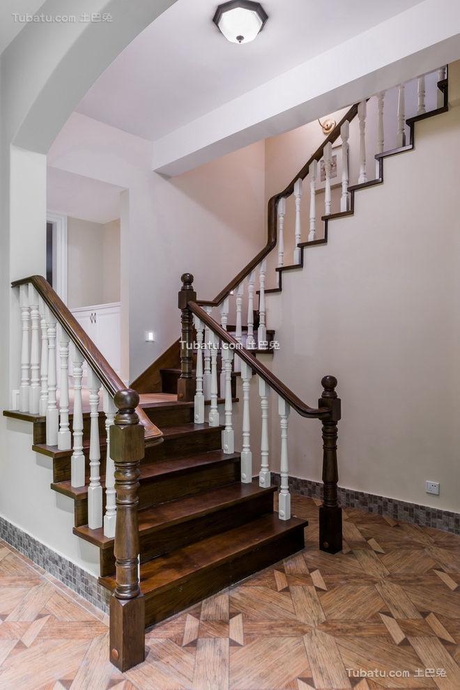 美式实木楼梯设计装潢