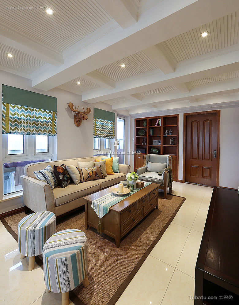 美式设计100平米两室两厅大全