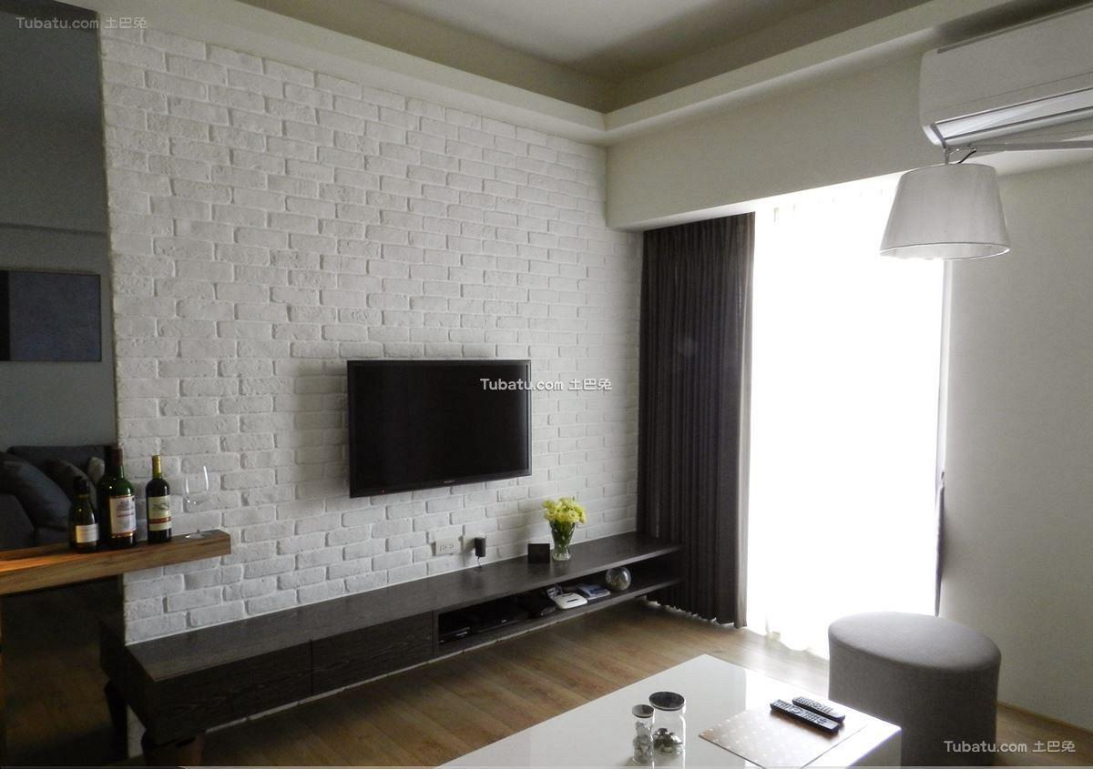 白色文化砖电视背景墙