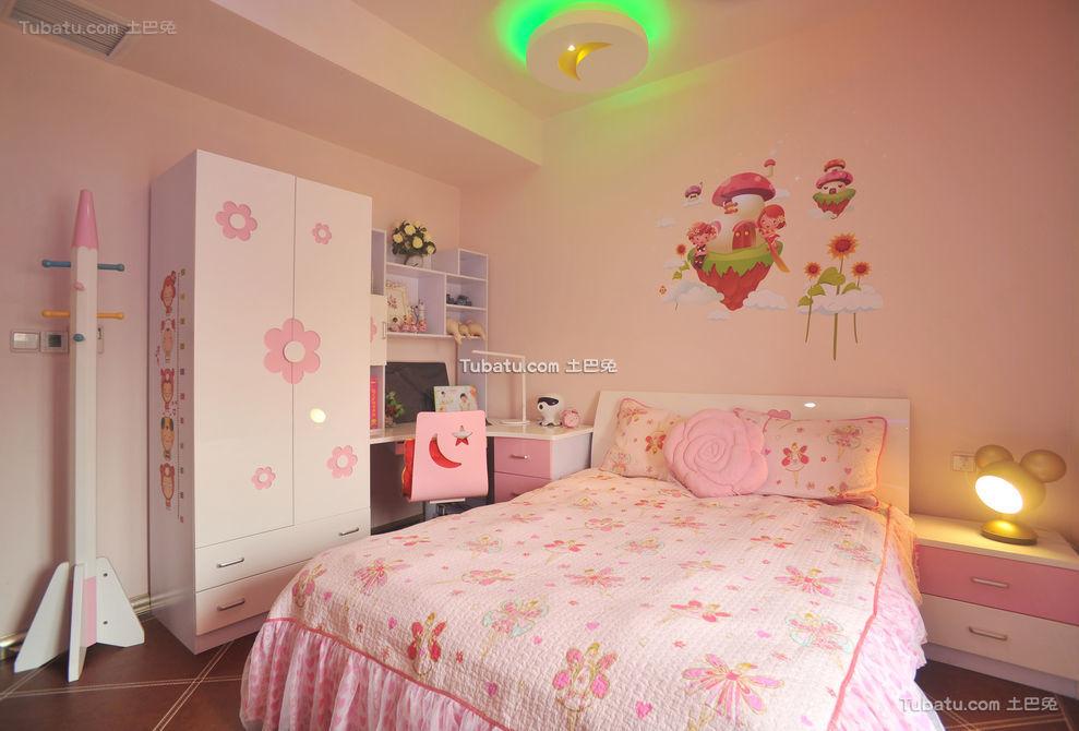 现代粉色儿童房装潢
