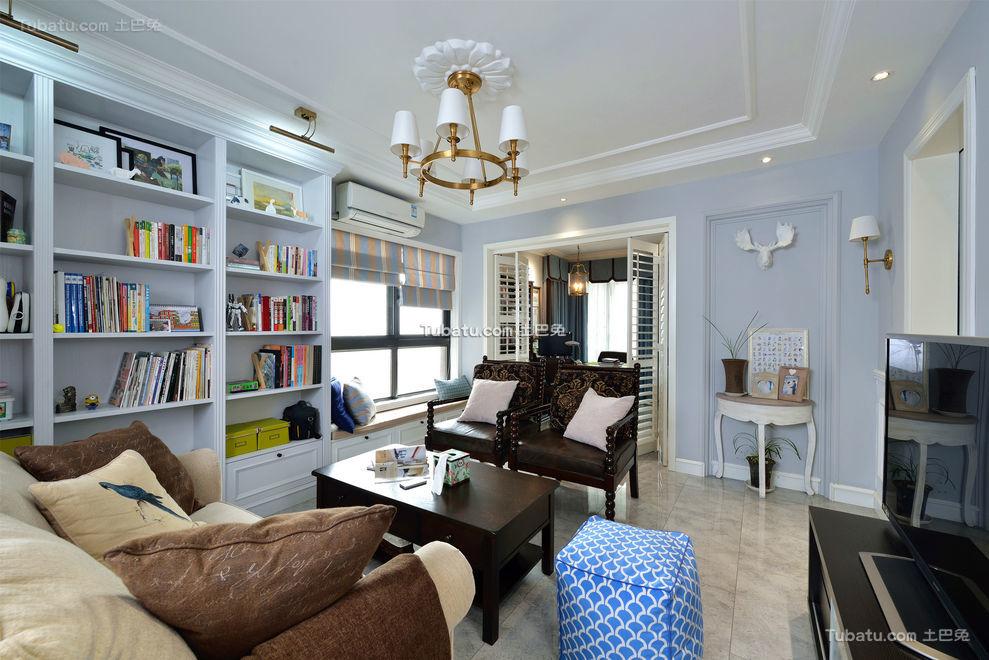 蓝色清新美式客厅装修装潢