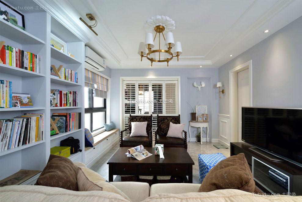 蓝色清新美式三居装潢案例