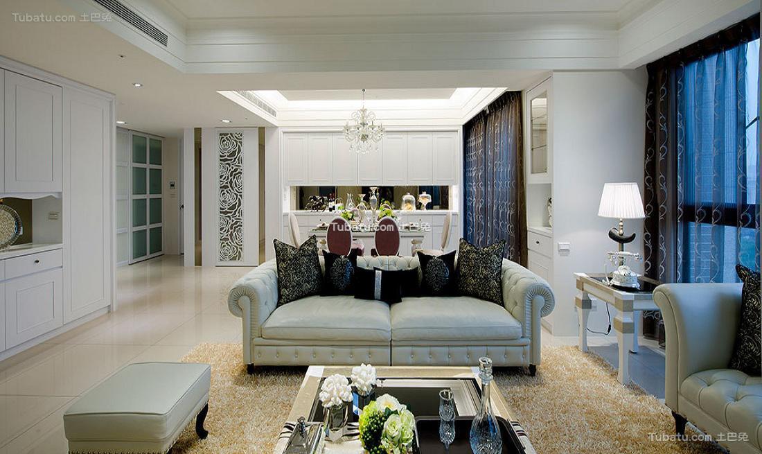 时尚纯白简约三居室装饰效果图