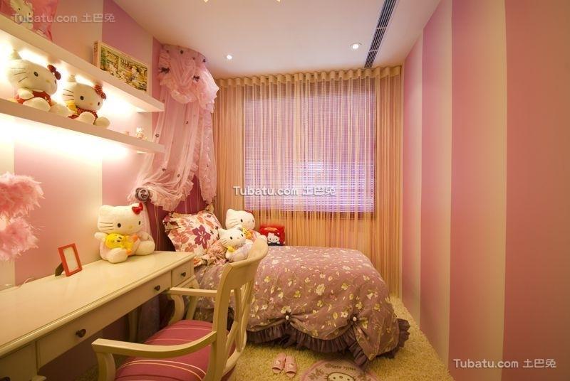 粉色温馨混搭儿童房装潢