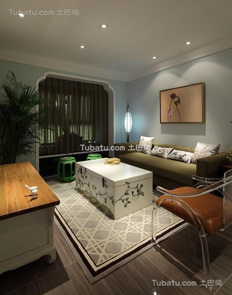 中式现代三居室内装饰效果图片