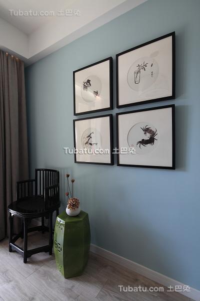 中式现代室内相片墙装饰效果图片