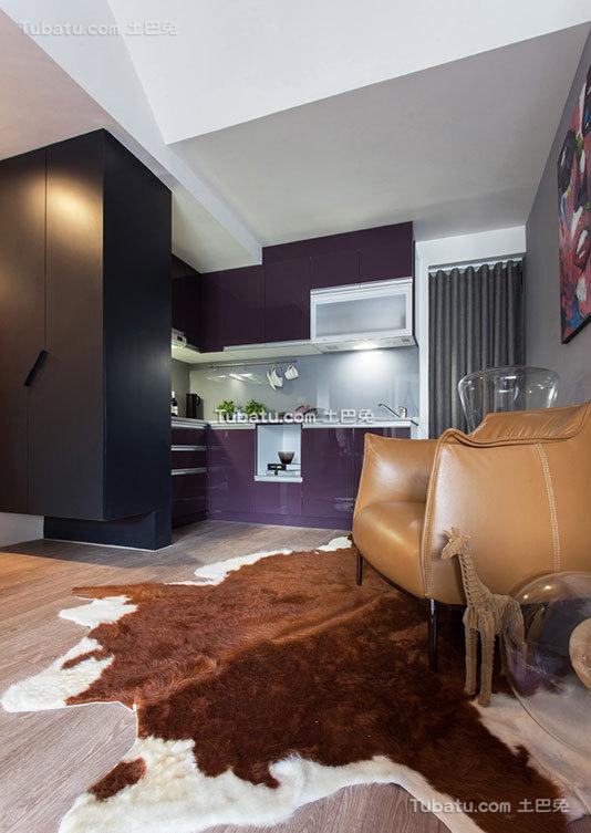 现代公寓室内厨房空间装饰设计效果图
