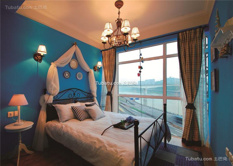 蓝色梦幻地中海风格卧室装潢