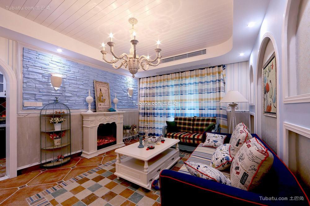 地中海设计客厅吊顶图片