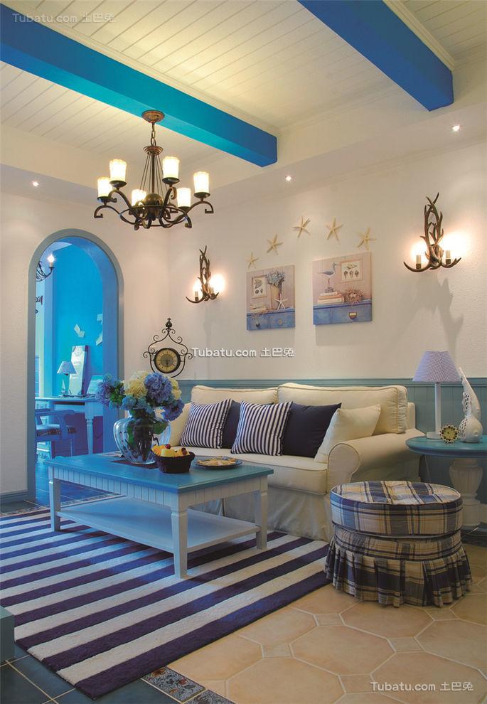 蓝色梦幻地中海客厅设计