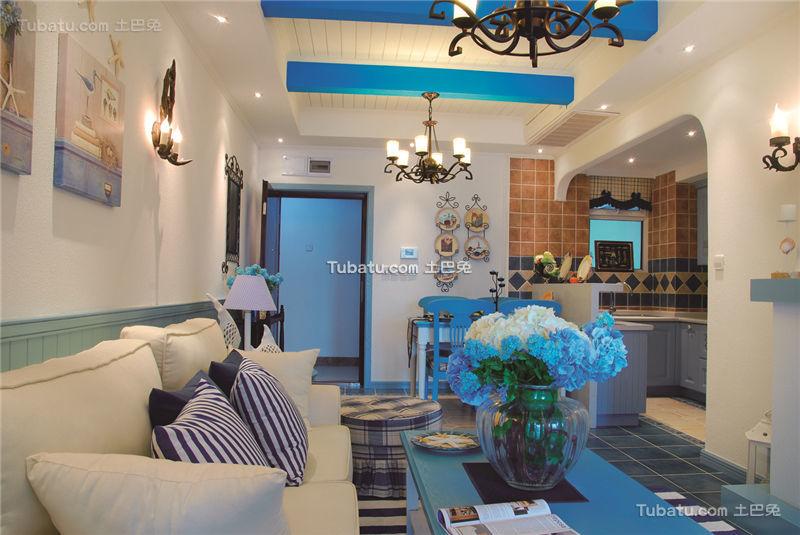 梦幻蓝色地中海二居装潢案例