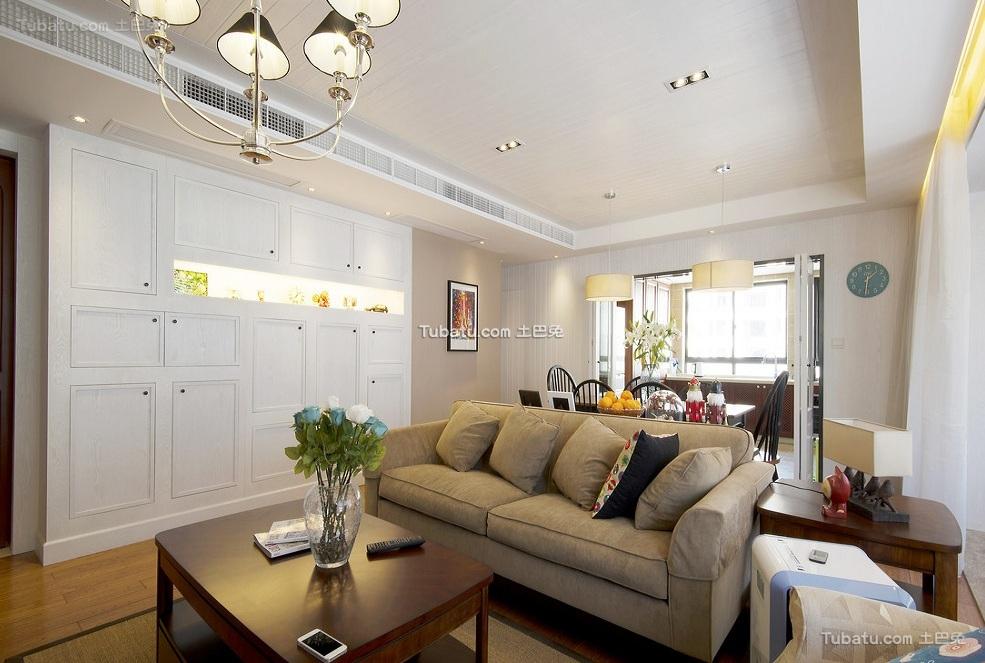 美式简约室内客厅设计效果图
