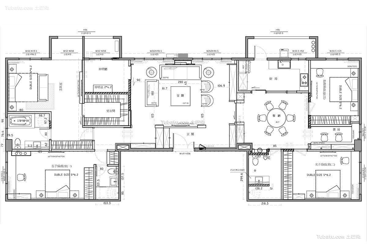现代时尚别墅装饰设计平面图