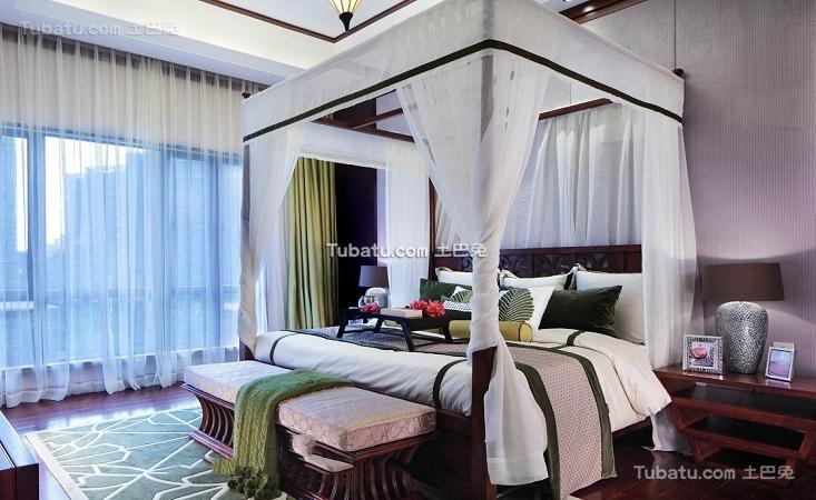 东南亚装修卧室窗帘