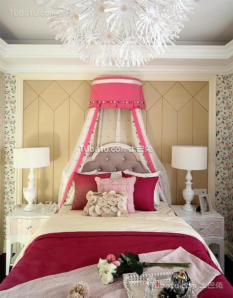 粉色宫廷风欧式儿童房设计