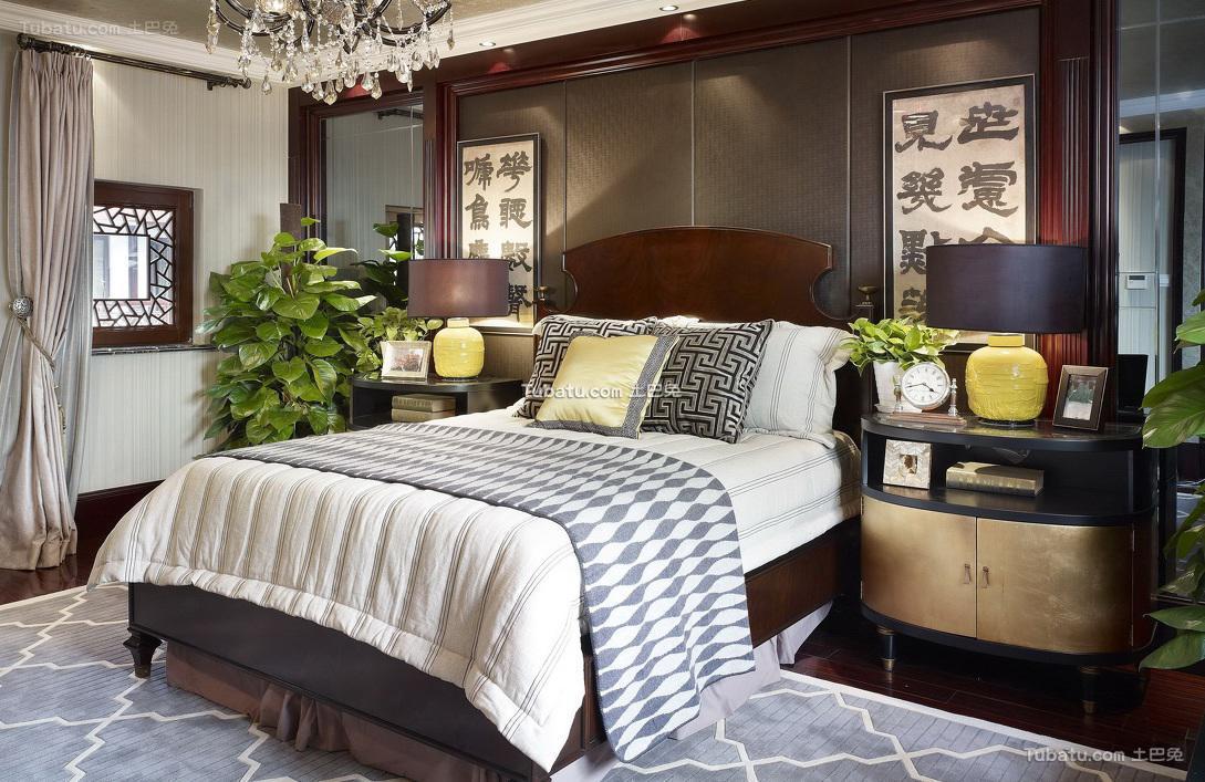 中式古典现代卧室设计装修效果图