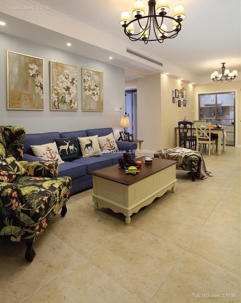 110平米美式三室一厅装修设计效果图