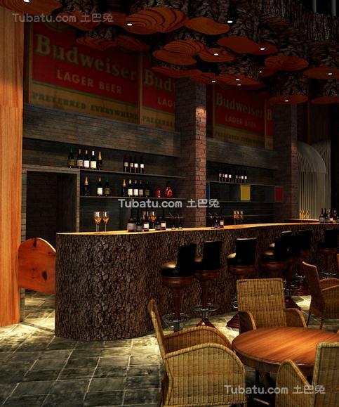 酒吧室内吧台设计效果图