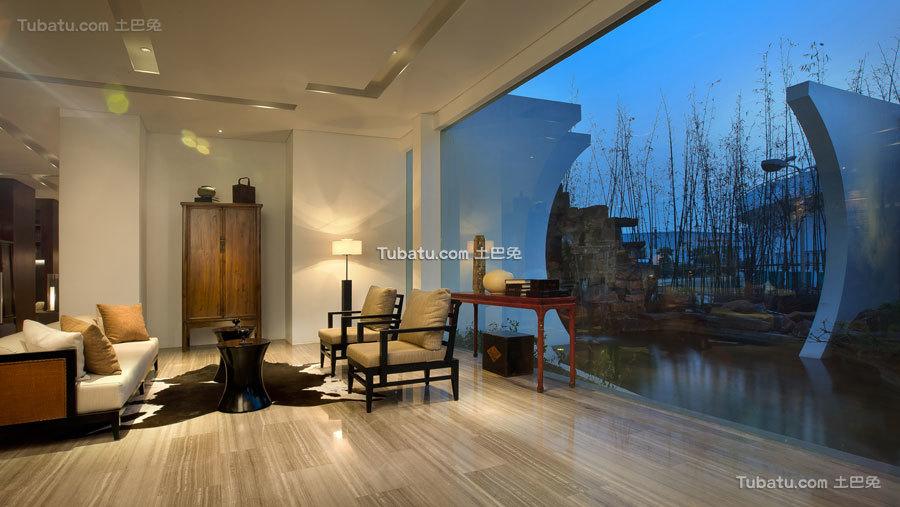 现代中式会所装修室内效果图片