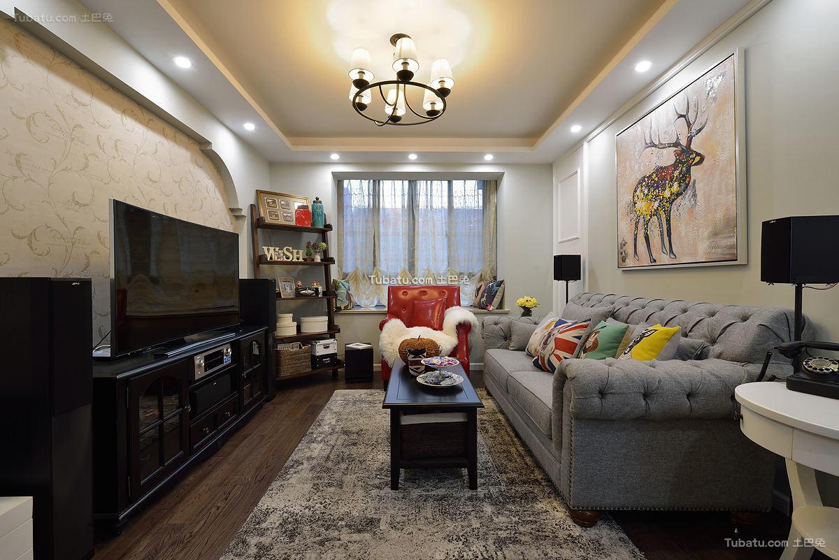 美式混搭风格二居室设计装修效果图