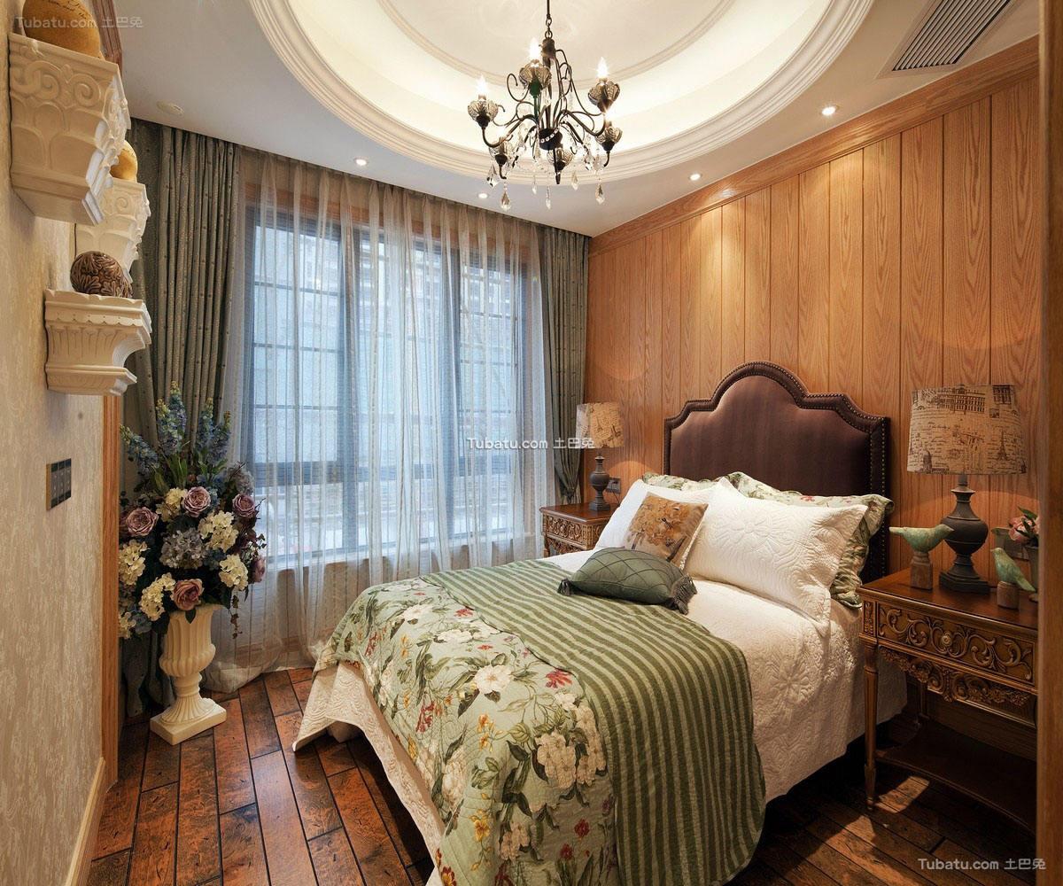 田园装修卧室窗帘欣赏图
