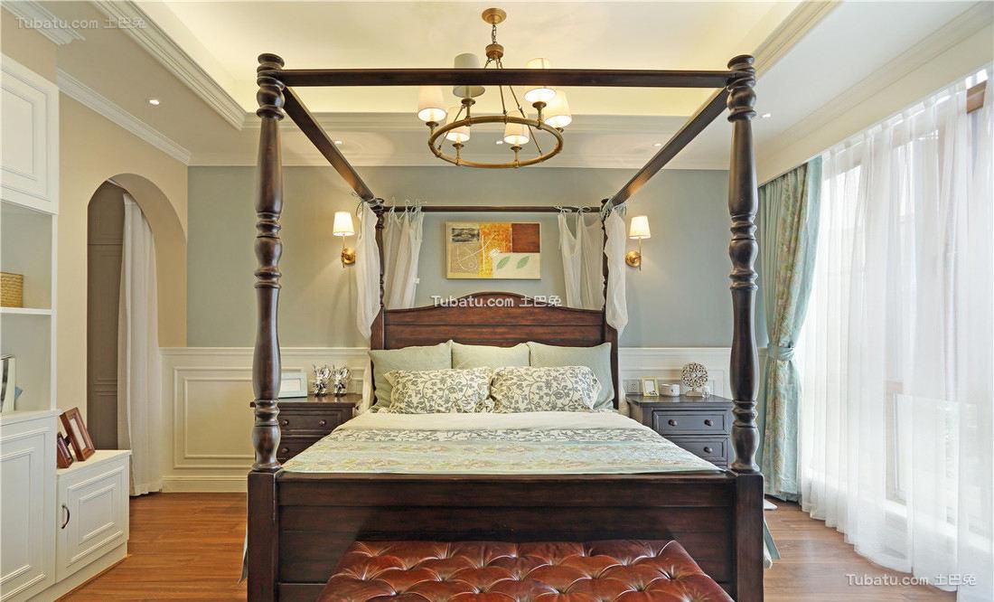 美式别墅复古卧室设计装饰效果图片