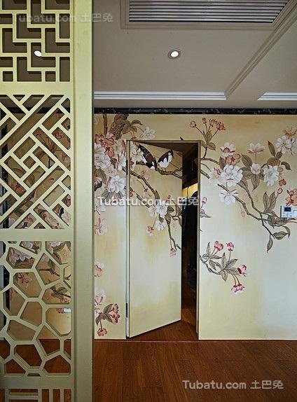 素雅中式墙纸隐形门装饰