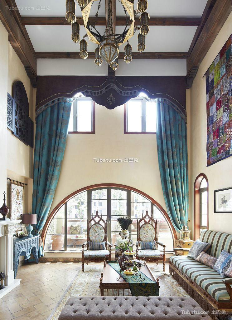 田园设计客厅窗帘欣赏