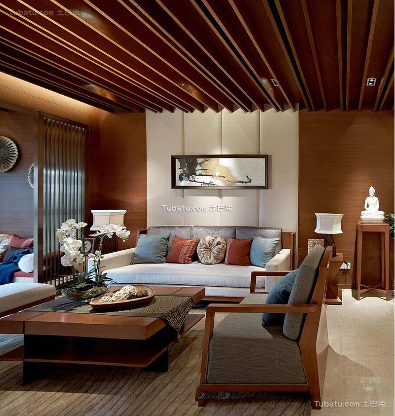 东南亚装修113平米三室两厅效果图