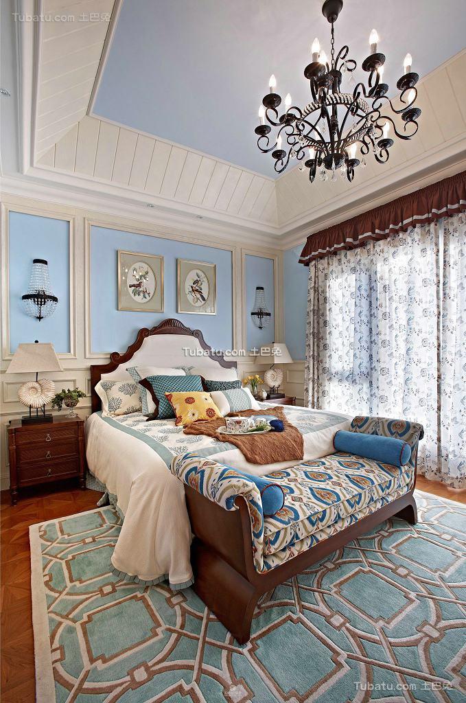 田园装修温馨卧室吊顶图