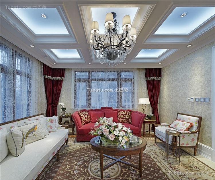 美式设计装修客厅吊顶欣赏