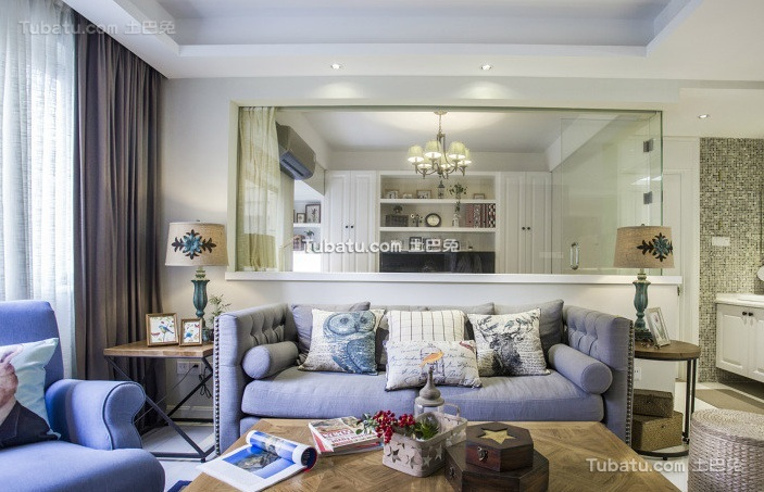 简约风格客厅布艺沙发设计图片