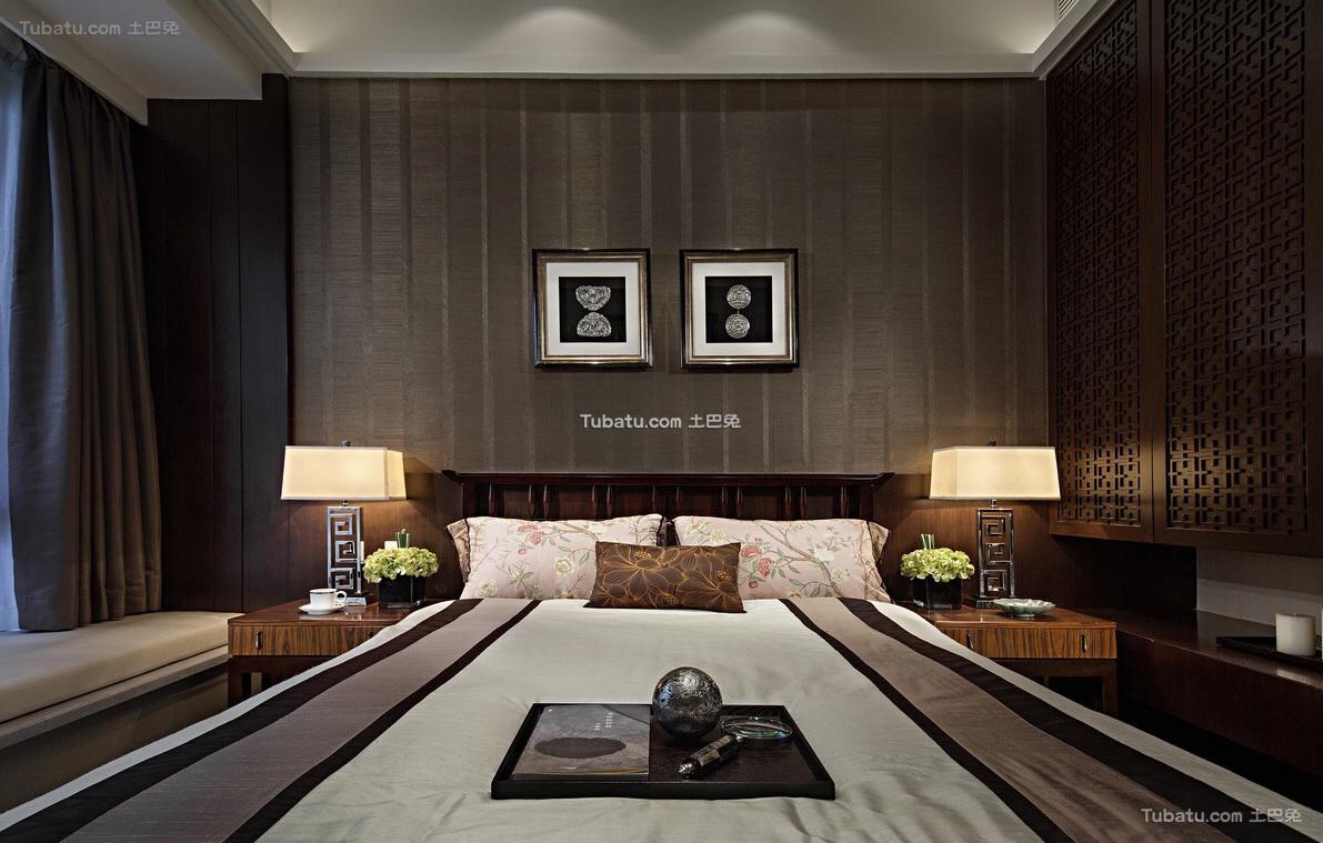 现代中式风格卧室家居装修效果图