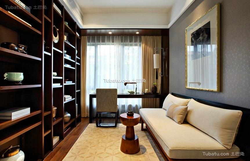 现代中式风格书房室内装修效果图