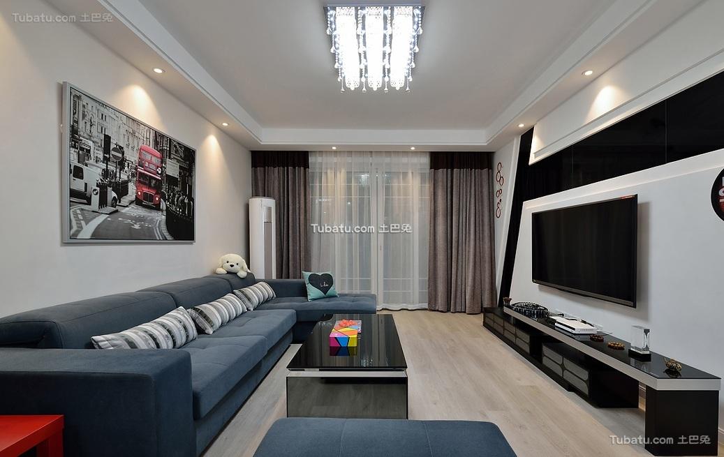 现代两居室设计装修效果图片