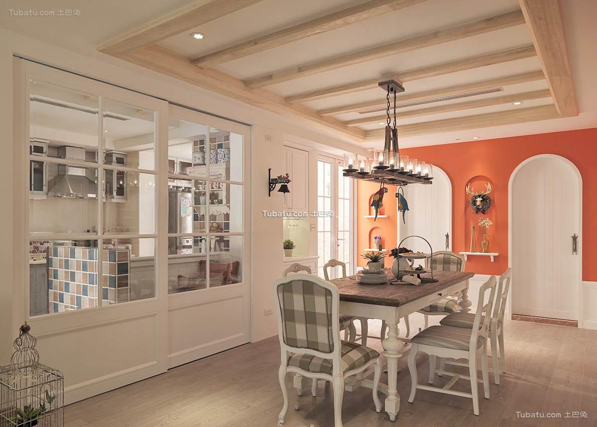 田园家庭设计餐厅吊顶效果图