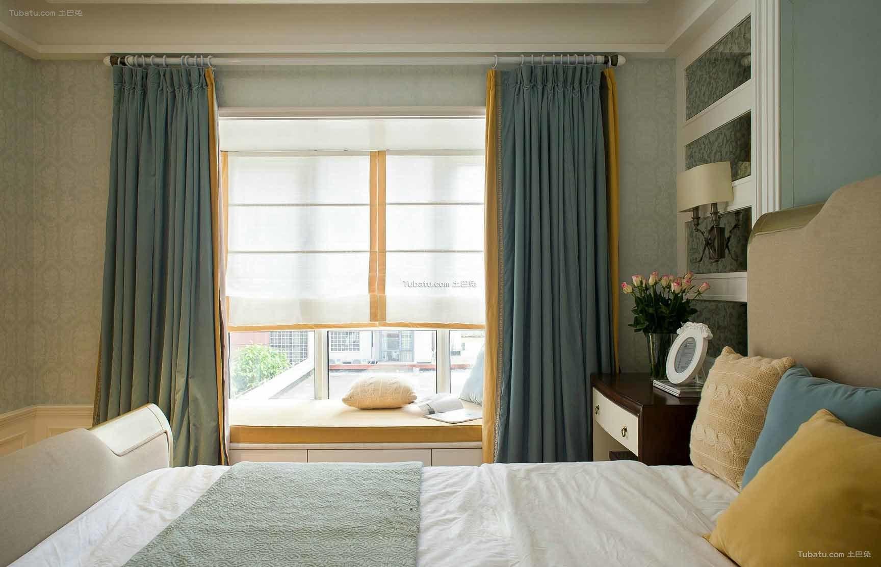 美式装修设计温馨卧室窗帘