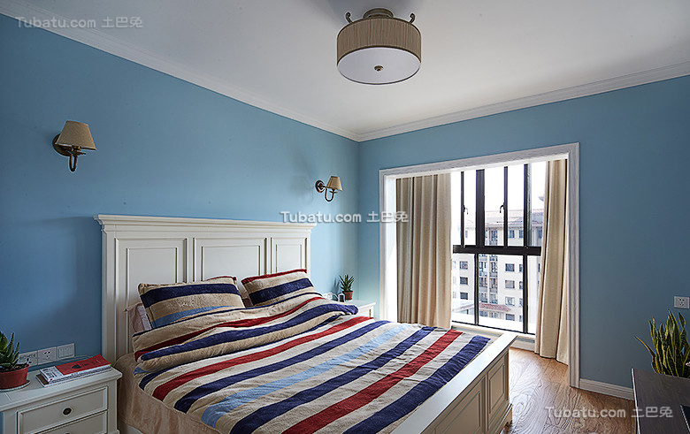 美式风格复式卧室家居设计装修效果图片