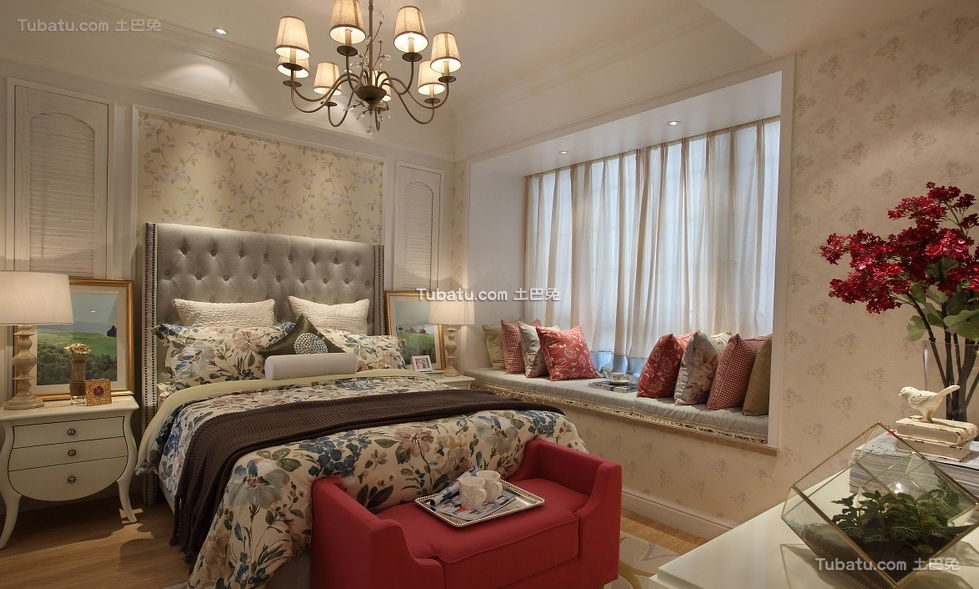 田园风格卧室室内设计装饰效果图片