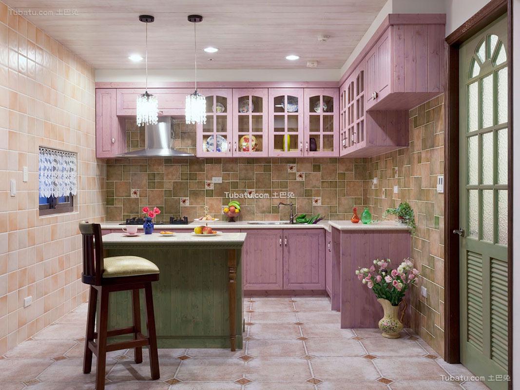 田园设计装修厨房橱柜效果图