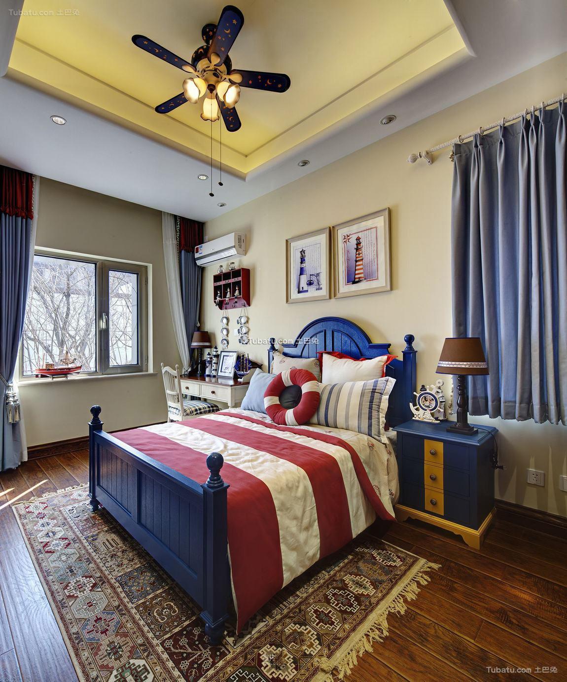 地中海装修温馨卧室吊顶大全