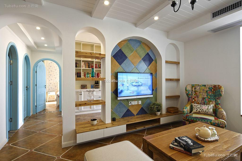 地中海家庭设计装修电视背景墙大全