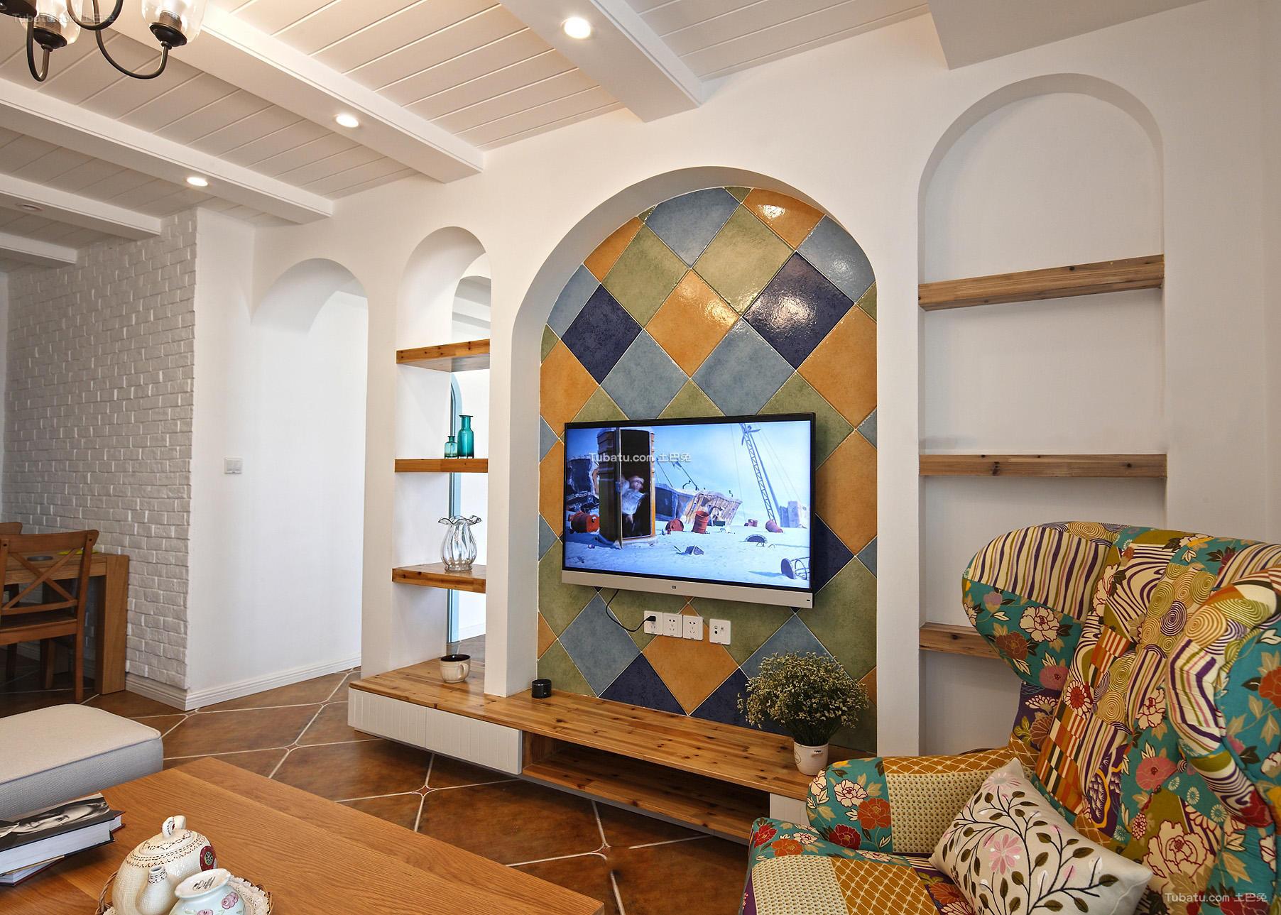 地中海装饰室内电视背景墙效果图
