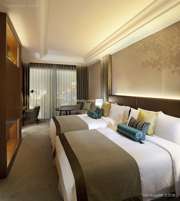 酒店设计室内双人间装潢图片